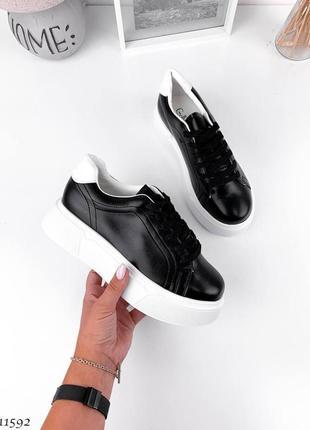 Кроссовки кеды белые чёрные эко кожа на высокой подошве