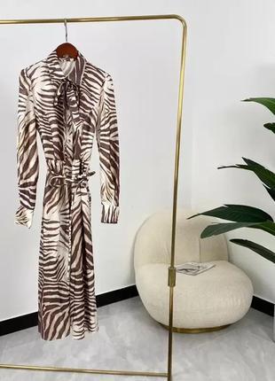 Весенне-летние высококачественные 100% саржевые шелковые полосатые элегантные платья миди с длинным рукавом zimmermann