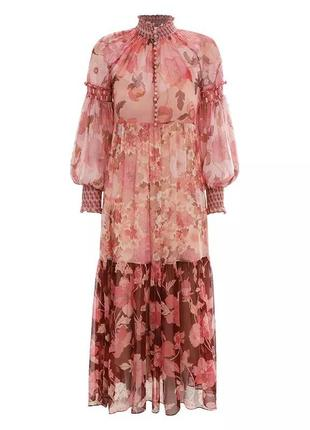 Женское розовое шелковое платье с рукавами-фонариками и высокой талией в стиле zimmermann