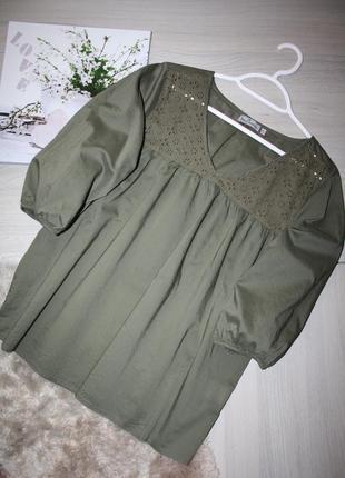 Хлопковая,воздушная блуза,рубашка с объемными рукавами!