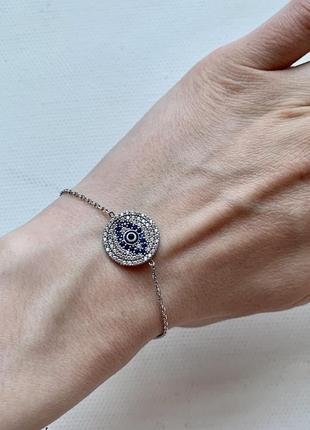 Срібний браслет з декоративною вставкою!(925 проба)