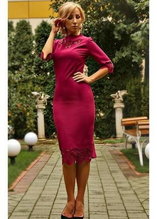 Платье вечернее женское цвета фуксии с перфорацией 52