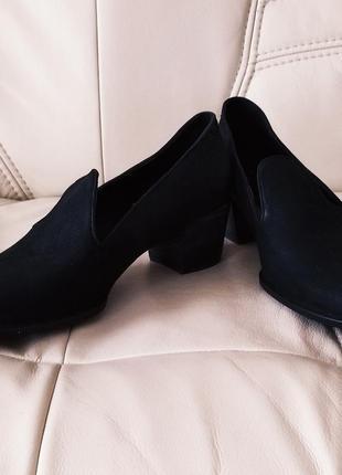 Новые туфли ecco, черные классические туфли ecco, новые лоферы, кожаные туфли ecco 42 размер, как geox, rieker стелька