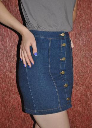Джинсовая юбка на пуговицах темно синяя