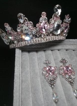 Свадебная корона  корона для невесты серьги