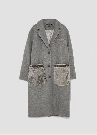 Новое серое длинное пальто с карманами мех zara (xs,s,m,l)