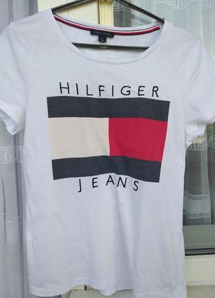 Белоснежная🔥 котоновая футболка-топ оригиналы томму хилфигер  tommy hilfiger