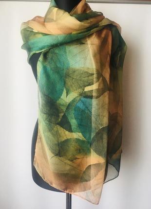 Шикарный шелковый шарф- палантин . black ringer