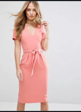 """Красивое персиковое платье oasis premium"""" , р.12"""