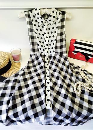 Волшебное чёрно-белое платье рубашка в горох и клетку to be too италия