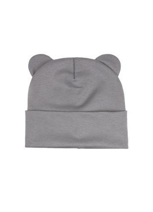 Шапка серая трикотаж осень 🍂 комплект набор шапка хомут снуд трикотаж