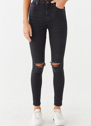 Скини джинсы женские высокая посадка лосины с дырками