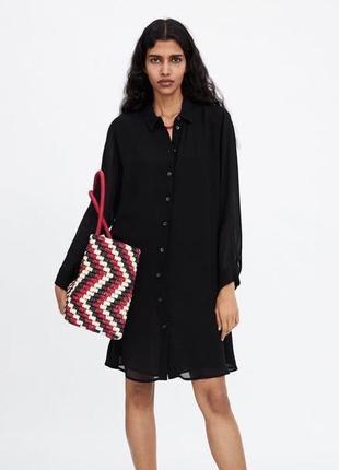 Платье рубашка с прозрачными рукавами из новой коллекции zara