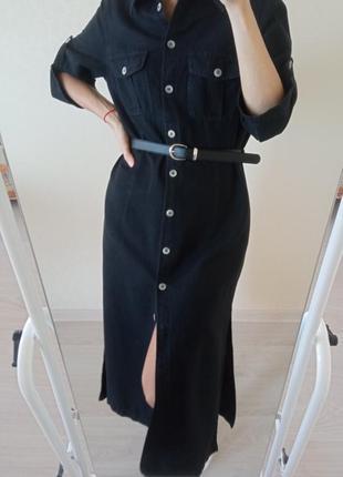 Шикарное длинное платье из льна/сукня