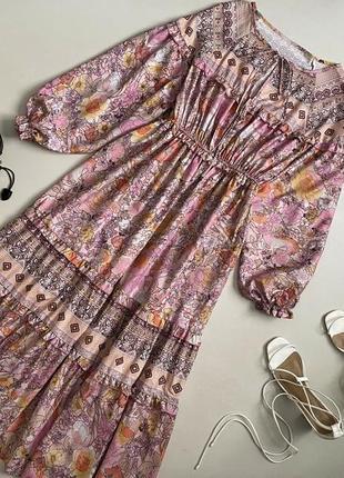 Шикарное цветочное ярусное  платье макси с красивыми объемными рукавами