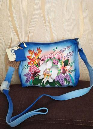 Кожаная сумка с ручной росписью sukriti