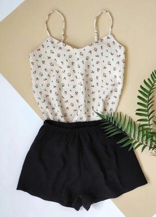 Пижама муслин в цветочек белая