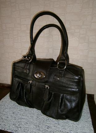 Большая, стильная, повседневная сумка из натуральной кожи. tommy & kate