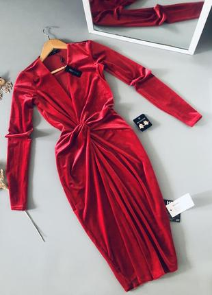 Красивое красное вечернее платье, миди