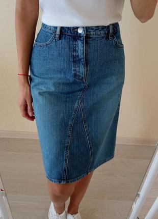 Джинсовая юбка миди esprit/спідниця