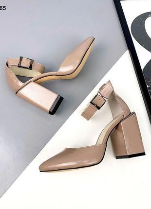 Туфли визон коричневые женские лаковые лак кожаные кожа