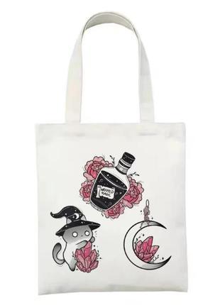 Магическая сумка шопер готическая торба для покупок   кот кристалл готика луна ведьма магия зелье викка