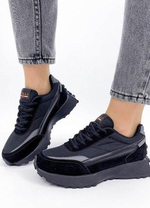 Стильные черные кроссовки, женские кроссовки 36-40р код 440