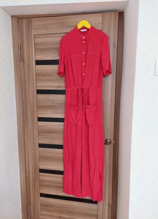 Платье в пол рубашечного кроя