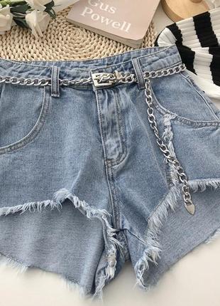 Джинсовые шорты укороченные спереди😍 ремень в подарок 🎁