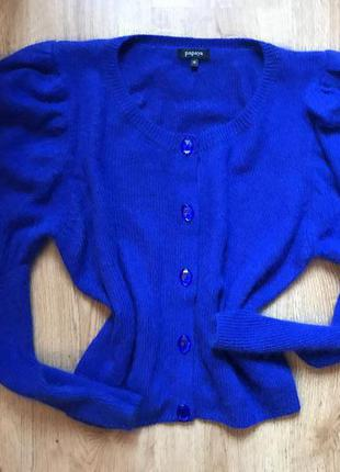 Новый ультрамариновый ангоровый свитер с объемными рукавами papaya 12рр