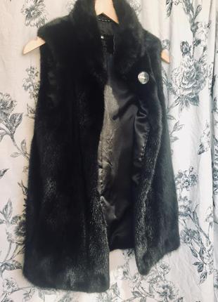 Норковая жилетка черный брилиант