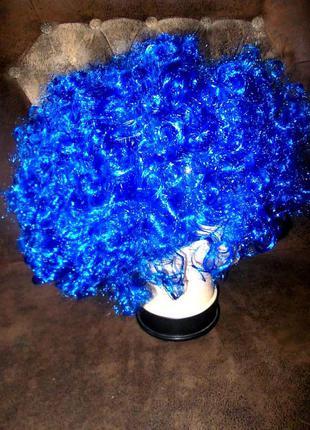 Парик маскарадный новый яркий синий цвет