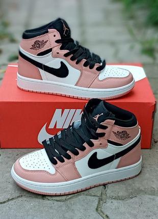 Женские кроссовки nike air jordan 1 retro розовые, кожаные, высокие