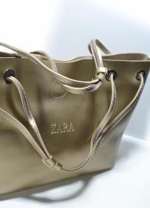 Вместительная сумка женская zara с косметичкой zara shopper