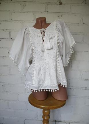 Блуза/рубашка хлопковая с вышивкой этно, бохо/сорочка бавовна/l-m
