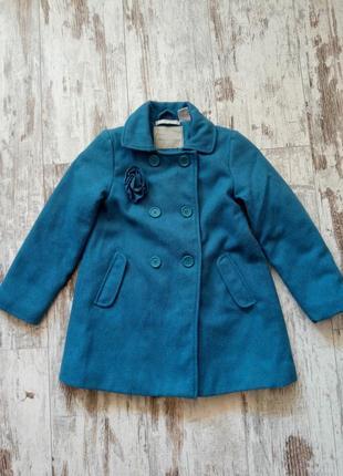 Пальто шерстяное шерсть ламы бирюзовое