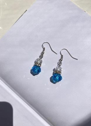 Красивые серёжки/серьги /бижутерия (голубой и прозрачный камни )