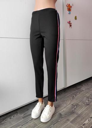 Брюки штаны черный с разноцветными лампасами с карманами высокая посадка талия турция