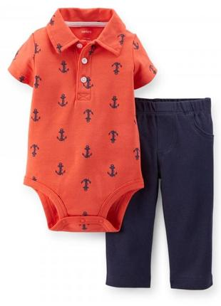 Комплект бодик поло с коротким рукавом и брюки, штаны на 6м