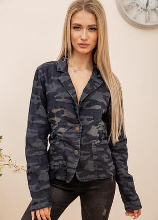 Пиджак-кардиган женский с милитари принтом трикотажный сине-серый
