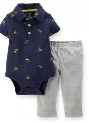 Комплект бодик поло с коротким рукавом и штаны, брюки на 6м
