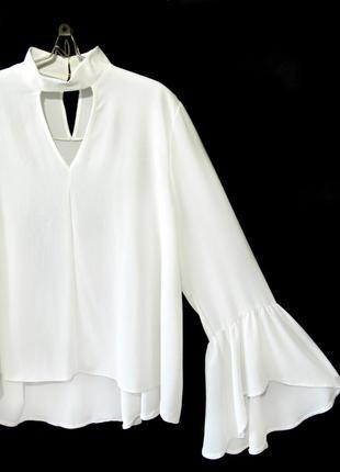 Нарядная белая блуза с чокером и широкими рукавами р.16