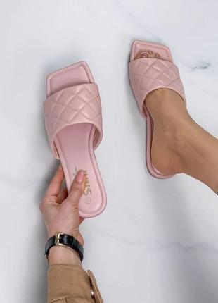 Мюли шлепанцы 🌿 в стиле боттега венета квадратный носок шльопки шлепки