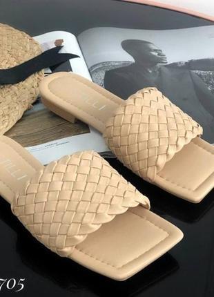 Мюли шлепанцы 🌿 в стиле боттега венета квадратный носок шльопки шлепки  плетение