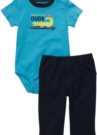 Комплект бодик с коротким рукавом и штаны, брюки на 3м, 6м