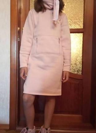 Теплое платье для девочки, платье туника на байке, нежно розовый цвет, размеры: от 128 до 152