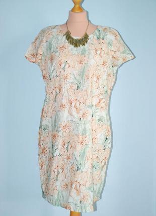 Лен идеальное платье льняное в цветы пастельное в пастельных тонах