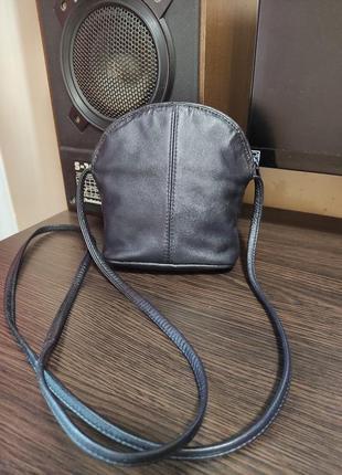 Caravelle кожаная маленькая сумка на плечо темно синяя сумочка кросс боди мини