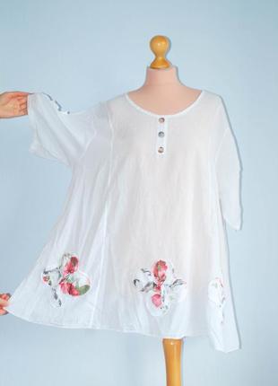 Хлопок  италия  свободная блуза с рукавом хвостами хвосты удлиненные бока туника рубашка