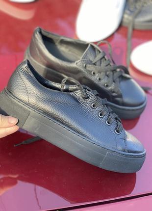 Черные кроссовки на платформе из натуральной кожи, черные кеды кожа